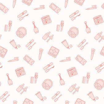 Naadloos patroon met platte cosmetica pictogram.