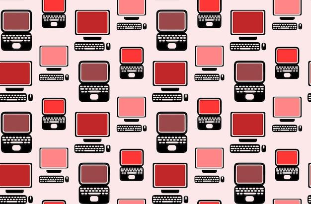 Naadloos patroon met platte laptops en computers voor uw creaties