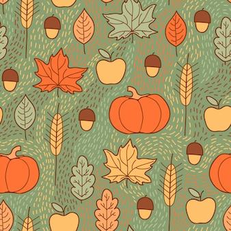 Naadloos patroon met pompoenen, bladeren, tarwe en appels