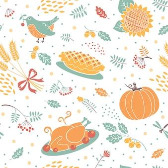 Naadloos patroon met pompoenen, bladeren, tarwe en turkije.