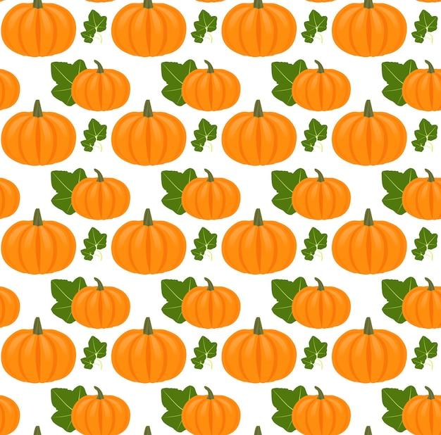 Naadloos patroon met pompoenen en bladeren