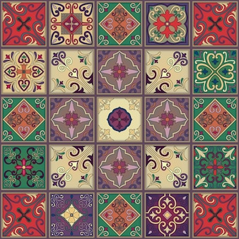Naadloos patroon met portugese tegels in talaverastijl.