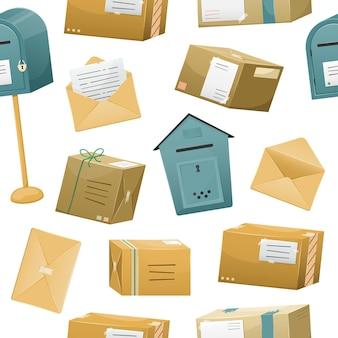 Naadloos patroon met postpakketten in dozen met een afleveradres en enveloppen