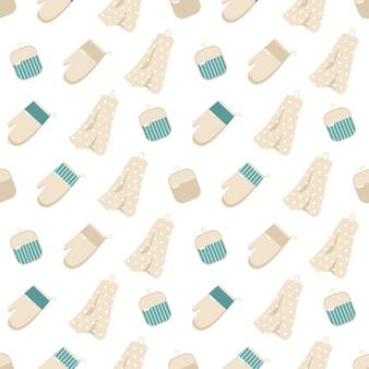 Naadloos patroon met potten en pannen. keukenprint met keukengerei om te koken. koken items op achtergrond