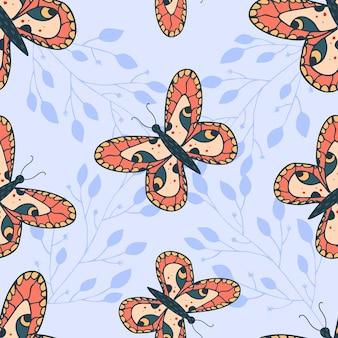 Naadloos patroon met prachtige vlinders