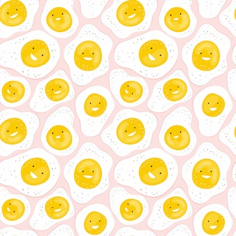 Naadloos patroon met pret gebraden eieren die op een roze achtergrond glimlachen. cartoon karakter grappig ei. hand getekende achtergrond met voedsel voor een gezond ontbijt voor kinderen. ontwerp van print, textiel, stof