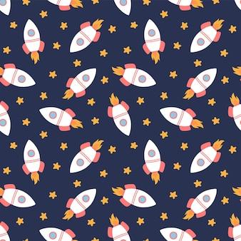 Naadloos patroon met raketten en sterren, vectorillustratie