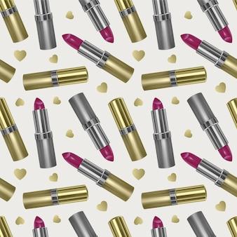 Naadloos patroon met realistische 3d lippenstift, gouden kleur lippenstift textuur