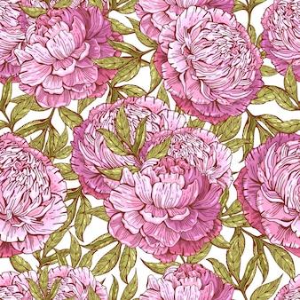 Naadloos patroon met realistische hand getrokken pioenrozen in vintage stijl