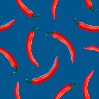 Naadloos patroon met realistische roodgloeiende natuurlijke chilipepers op een blauwe achtergrond