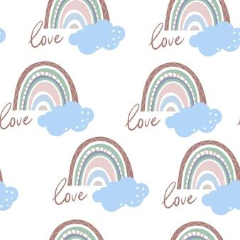 Naadloos patroon met regenbogen en boho-elementen