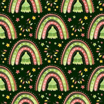 Naadloos patroon met regenbogen, kerstbomen en slingers vakantie digitaal papier