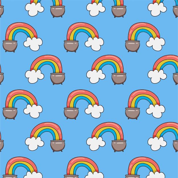Naadloos patroon met regenboog in pot