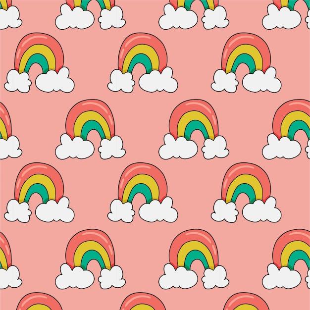 Naadloos patroon met regenboog op roze
