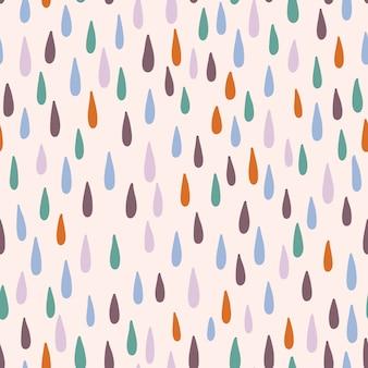 Naadloos patroon met regendruppels