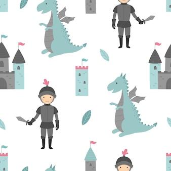 Naadloos patroon met ridder en draak