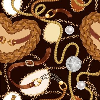 Naadloos patroon met riemen, franjes en kettingen.