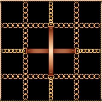 Naadloos patroon met riemen, kettingen en touw op zwart