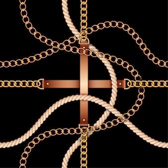 Naadloos patroon met riemen, kettingen en touw
