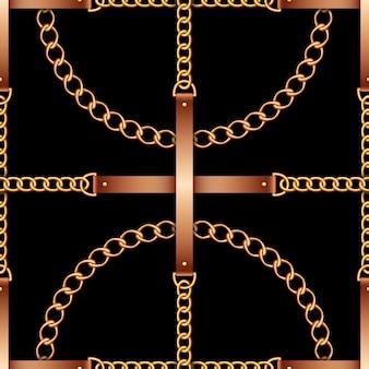 Naadloos patroon met riemen