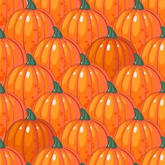 Naadloos patroon met rijen rijpe oranje pompoenen.