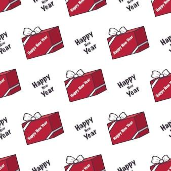 Naadloos patroon met rode dozen met geschenken en de inscriptie gelukkig nieuwjaar feestelijke print voor christus...