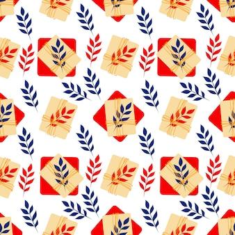 Naadloos patroon met rode en beige geschenkdozen en bladeren leuke vakantieprint