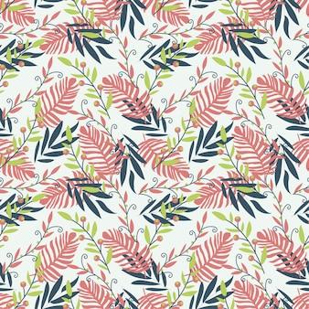 Naadloos patroon met rode en donkere tropische bladeren