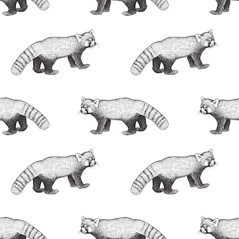 Naadloos patroon met rode panda.