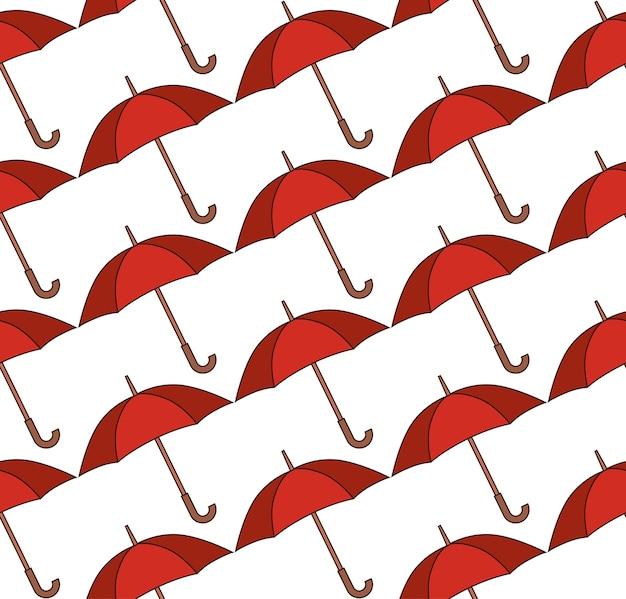 Naadloos patroon met rode paraplu's