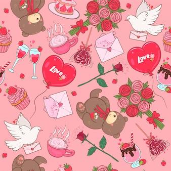 Naadloos patroon met romantische items