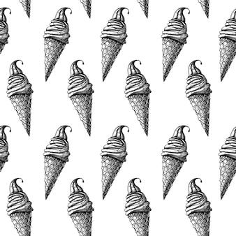 Naadloos patroon met roomijs. realistisch ijs. vectorillustratie in schetsstijl.