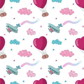 Naadloos patroon met roze en blauwe luchtballons vliegtuigsterren en wolken
