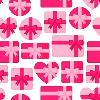Naadloos patroon met roze geschenkdozen van verschillende vormen.