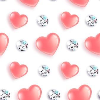 Naadloos patroon met roze hartjes en diamanten.