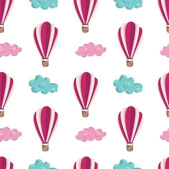 Naadloos patroon met roze luchtballons en wolken