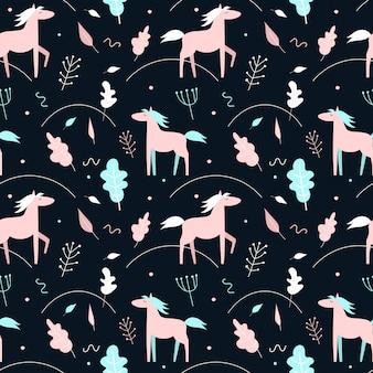 Naadloos patroon met roze paarden en installaties op een donkere achtergrond. scandinavische stijl.