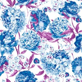 Naadloos patroon met roze pioenrozen
