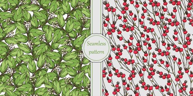 Naadloos patroon met rozenbottels en boomtakken