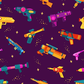 Naadloos patroon met ruimteblasters op paarse achtergrond.