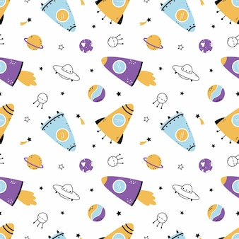 Naadloos patroon met ruimteraket en planeten. achtergrond voor het naaien van kinderkleding en het bedrukken van behang. sterrenhemel.
