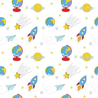 Naadloos patroon met ruimtevoorwerpen, raket, vliegtuig. gekleurde doodle vector achtergrond