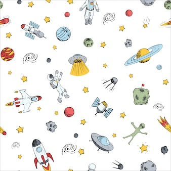 Naadloos patroon met ruimtevoorwerpen