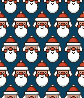 Naadloos patroon met schattig gezicht van de kerstman. kerstmis en nieuwjaar vector achtergrond.