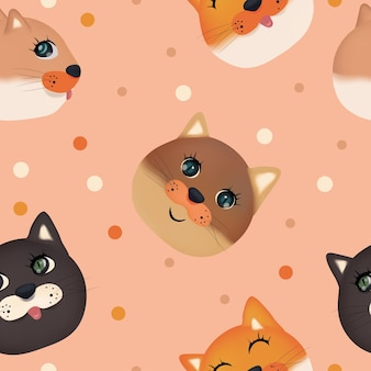 Naadloos patroon met schattig kattengezicht