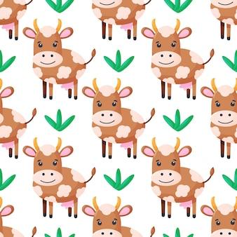 Naadloos patroon met schattig koeienkarakter