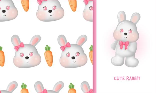 Naadloos patroon met schattig konijn en wortel.