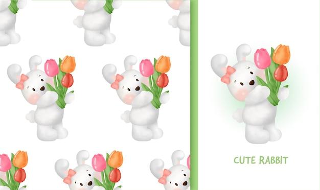 Naadloos patroon met schattig konijn met een wortel.