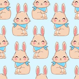 Naadloos patroon met schattig konijn.