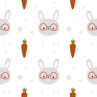 Naadloos patroon met schattig konijntje kinderachtig patroon met konijnen en wortelen